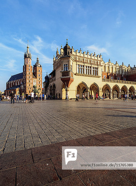 Main Market Square  St. Mary Basilica and Cloth Hall  Cracow  Lesser Poland Voivodeship  Poland  Europe