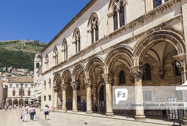 Rectors Palace and Cultural History Museum street view  Dubrovnik Old Town  Dubrovnik  Dalmatian Coast  Croatia  Europe