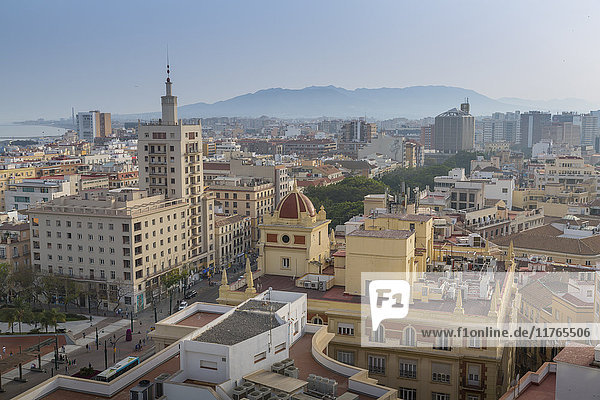 Elevated view of Alameda Principal  Malaga  Costa del Sol  Andalusia  Spain  Europe