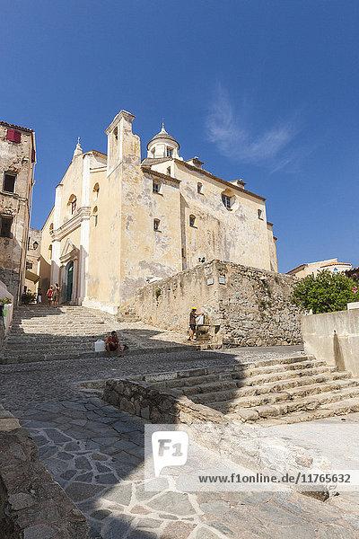 View of the Roman Catholic Cathedral St. Jean Baptiste in Calvi  Balagne Region  northwest Corsica  France  Europe
