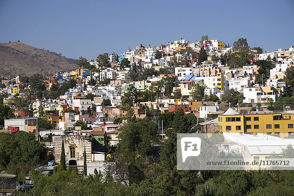 View from Templo de San Diego  distant view of the city  Guanajuato  Mexico  North America
