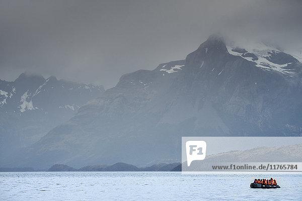 A fjord in the Darwin Mountain range  Alberto de Agostini National Park  Tierra del Fuego  Chilean Patagonia  Chile  South America