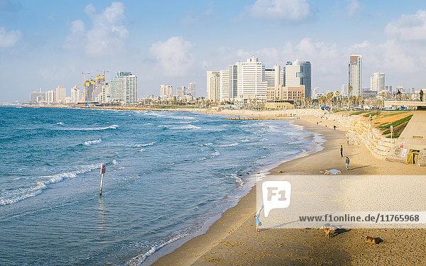 View of Neve Tzedek district skyline and Mediterranean in the evening  Tel Aviv  Israel  Middle East