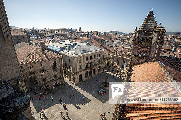 View from the roof of the Cathedral of Santiago de Compostela  UNESCO World Heritage Site  Santiago de Compostela  A Coruna  Galicia  Spain  Europe