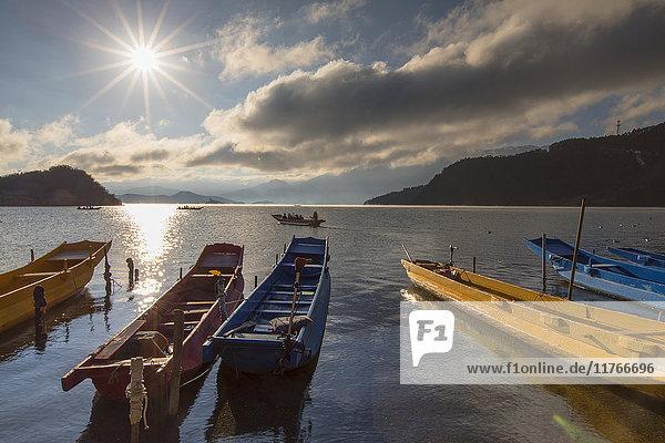 Boats on Lugu Lake  Lige village  Yunnan  China  Asia