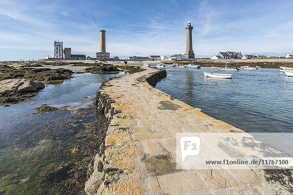 Lighthouses with pier and boats  Penmarch  Finistere  Brittany  France  Europe