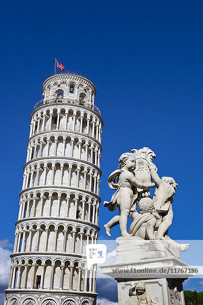 The Leaning Tower of Pisa  campanile or bell tower  Fontana dei Putti  Piazza del Duomo  UNESCO World Heritage Site  Pisa  Tuscany  Italy  Europe