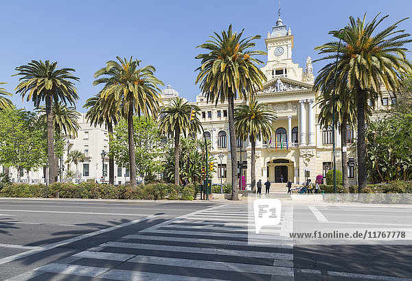 View of Town Hall Palace (Ayuntamiento)  Malaga  Costa del Sol  Andalusia  Spain  Europe