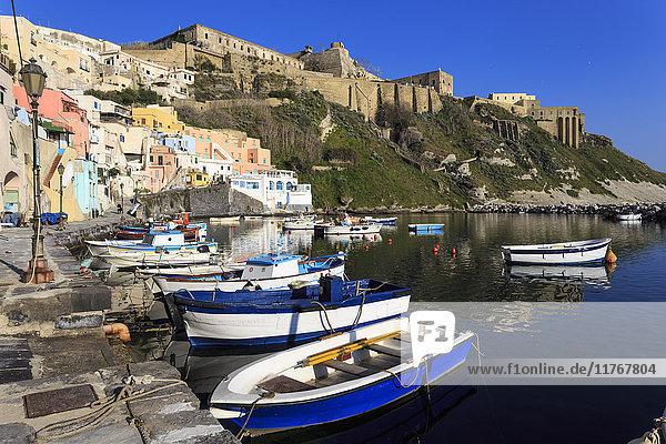 Marina Corricella  pretty fishing village  boats below Terra Murata acropolis fortress  Procida Island  Bay of Naples  Campania  Italy  Europe