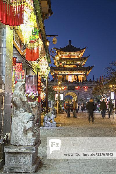 Wu Hua Gate at dusk  Dali  Yunnan  China  Asia