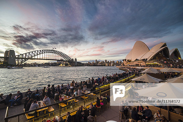 Sydney Harbour with the Harbour Bridge and Opera House after sunset  Sydney  New South Wales  Australia  Pacific