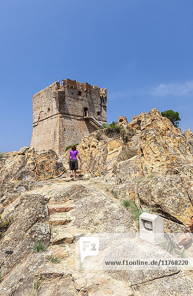 Genoese tower of granite rocks built as fortress of defense framed by blue sky  Porto  Southern Corsica  France  Mediterranean  Europe