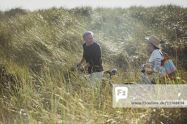 Reife Paare  die mit dem Fahrrad im sonnigen Strandgras unterwegs sind.