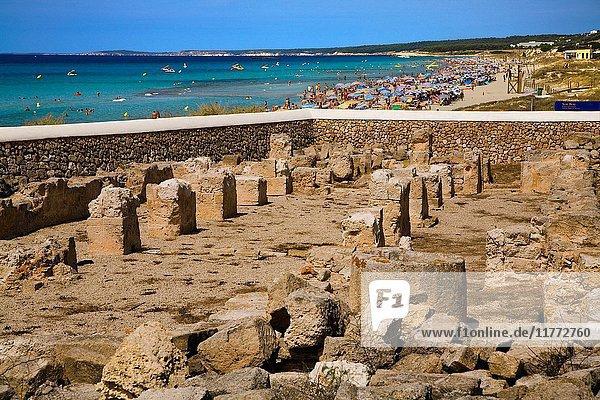 Paleo-Christian Basilica and beach of Son Bou. Menorca. Balearic Islands. Spain