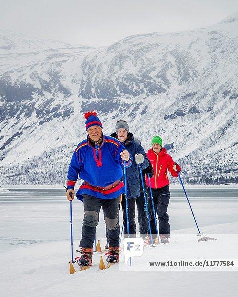 Cross country skiing  Lapland  Sweden.