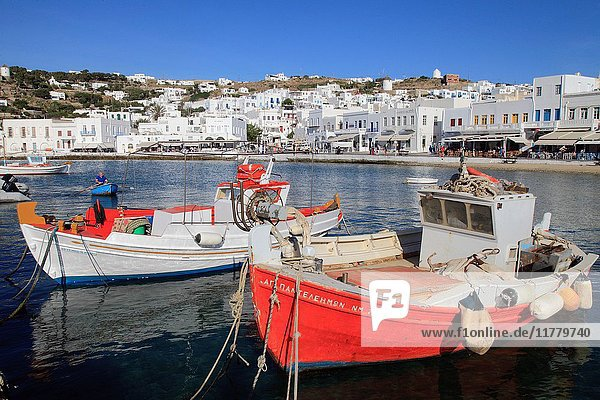 Greece  Cyclades  Mykonos  Hora  harbour  fishing boats .
