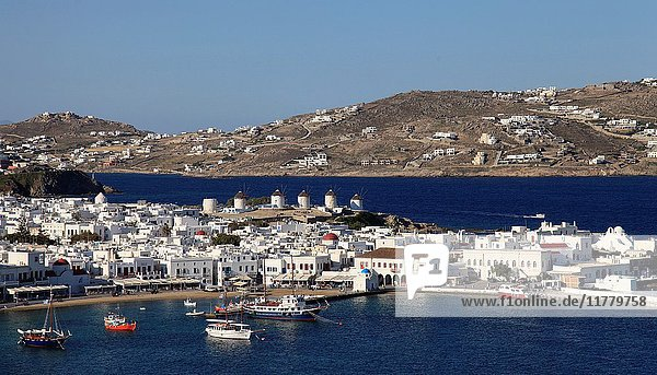 Greece  Cyclades  Mykonos  Hora  harbour  aerial view .
