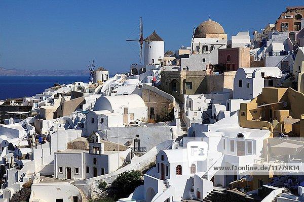 Greece  Cyclades  Santorini  Oia  village  skyline .