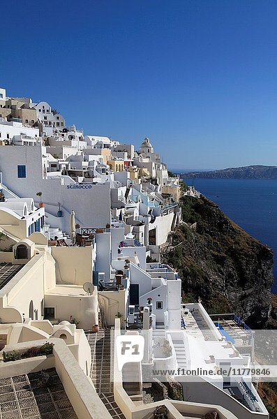 Greece  Cyclades  Santorini  Fira  skyline  terraces .