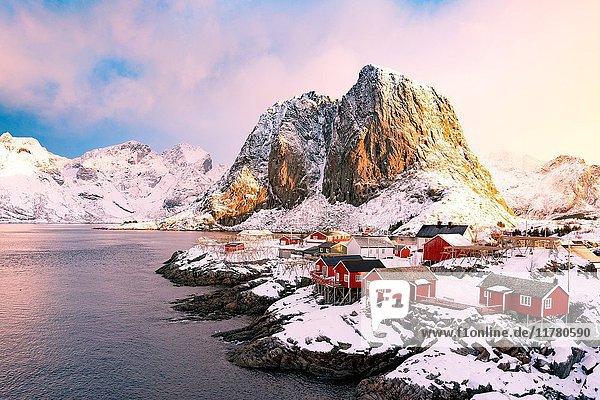Hamnoy  Lofoten islands  Norway. winter view at sunrise.