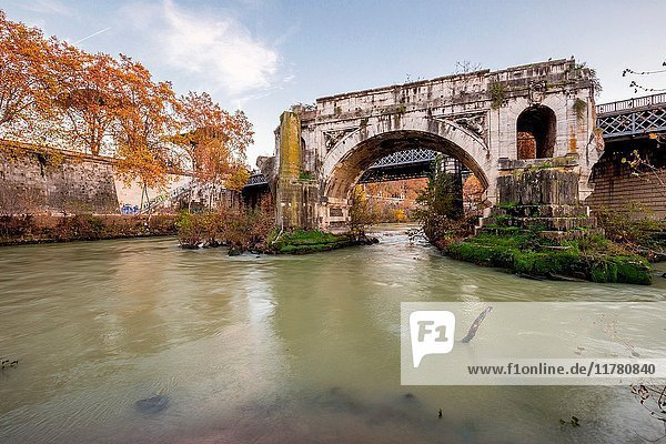Europe  Italy  Lazio  Rome. Ponte Rotto from Tiber Island.