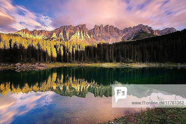 Carezza lake at sunset  Bolzano province  Trentino Alto Adige district  Italy  Europe.