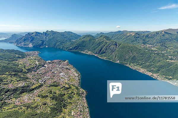 Aerial view of the villages Mandello del Lario and Abbadia Lariana overlooking Lake Como Lecco Province Lombardy Italy Europe.