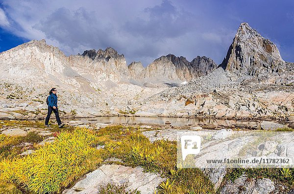 Hiker under Isosceles Peak and the Palisades in Dusy Basin  Kings Canyon National Park  California USA.