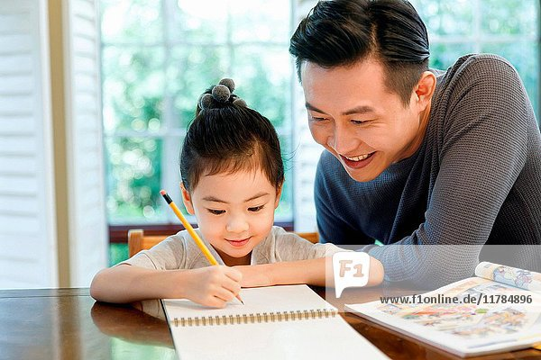 Father helping daughter with her study