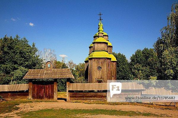 Old wooden church  Open-air museum of ukrainian architecture and culture  Kiev  Pirogovo  Ukraine.