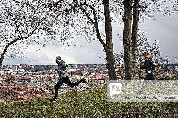 Vollständige Seitenansicht des multiethnischen Paares beim Joggen auf dem Hügel im Wald