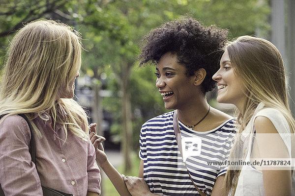 Junge Frauen lachen gemeinsam im Freien