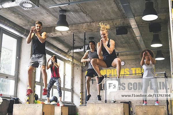 Gruppe junger Leute  die in der Turnhalle Boxsprünge machen.