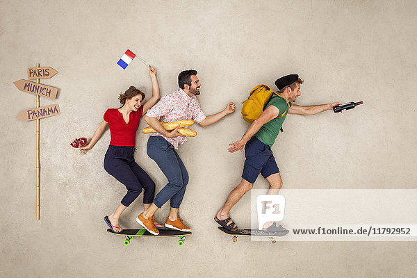 Reisegruppe auf dem Weg zu einem Städtetrip in Paris