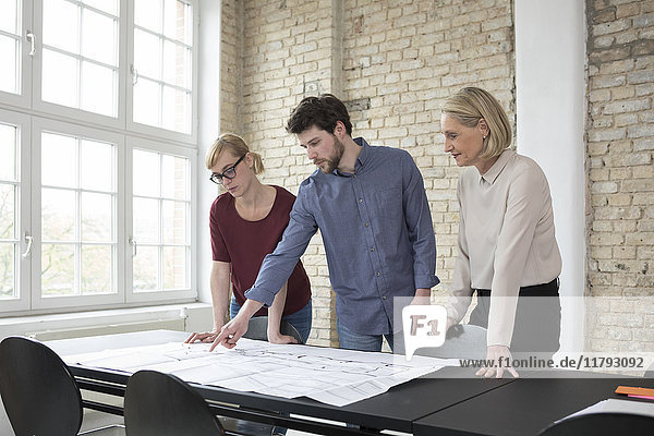 Reife Geschäftsfrau bei der Arbeit mit jüngeren Kollegen im Büro
