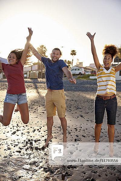 Glückliche Freunde  die am Strand in die Luft springen.