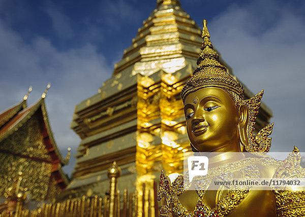 Thailand  Chiang Mai  Tempel Wat Phra That Doi Suthep  verzierte goldene Statue und chedi