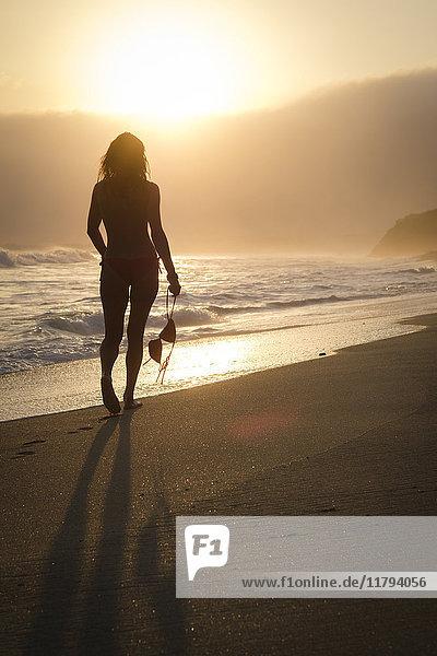 Mexiko  Riviera Nayarit  Silhouette einer Frau  die an einem Strand in den Sonnenuntergang geht  während sie ihr Bikini-Top hält.