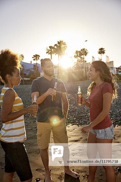 Drei Freunde beim Biertrinken am Strand bei Sonnenuntergang