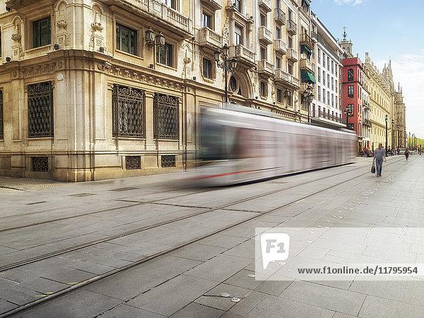 Spain  Sevilla  driving tram at the city