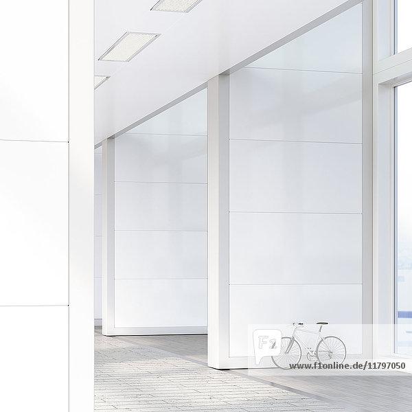 An die Wand gelehntes Fahrrad im Loft  3D-Rendering