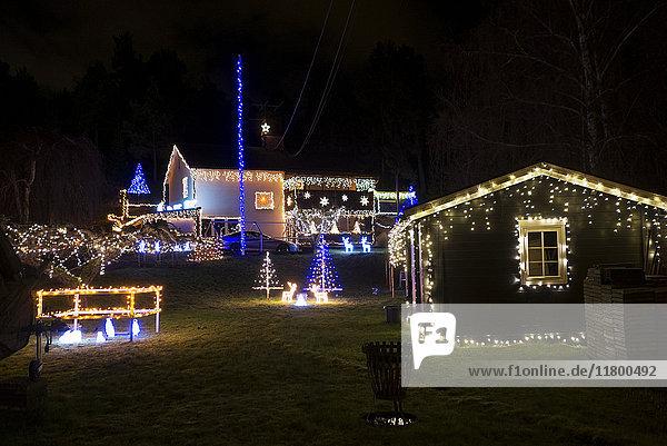 Illuminated houses at Christmas