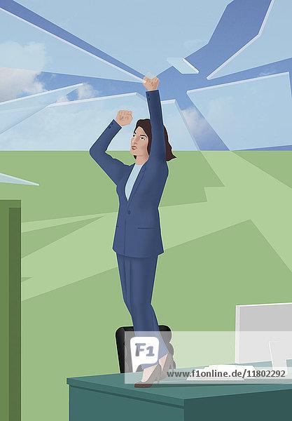 Geschäftsfrau steht auf einem Schreibtisch und zerbricht das Glasdach
