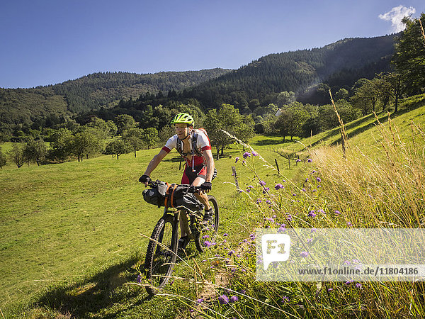 Mountain biker riding on a single trail in the southern black forest