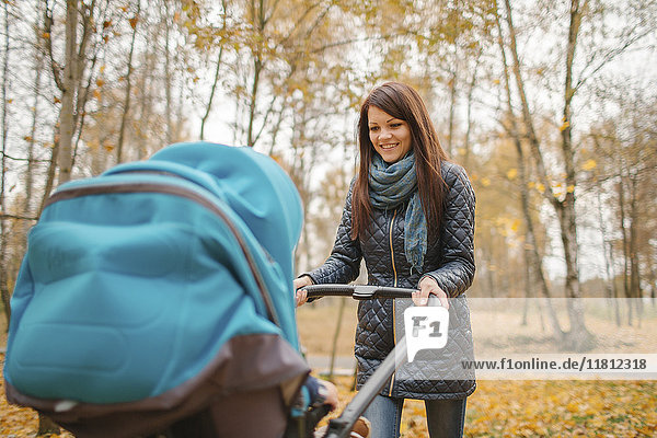 Smiling Middle Eastern woman pushing stroller in park