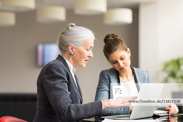 Businesswoman explaining to female colleague in boardroom meeting