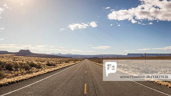 Leere Straße  Oljato  Utah  USA