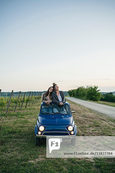 Touristen stehen durch Autoschiebedach  Weinberg  Toskana  Italien