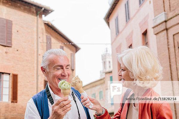 Touristenpaar isst Eistüten in Siena  Toskana  Italien
