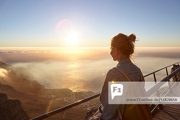 Young woman on top of Table Mountain  looking at view  Table Mountain  Cape Town  South Africa